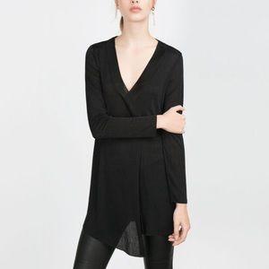 Zara black central slit black tunic medium